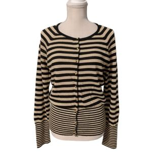 Mainbocher Gold and Black Button Down Sweater